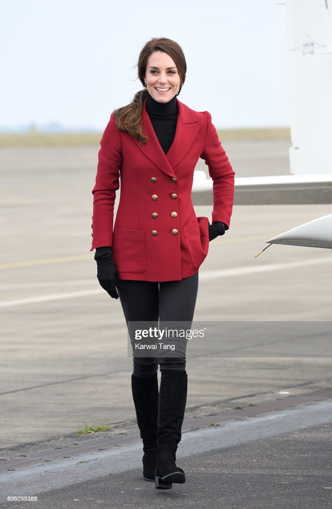 The Duchess Of Cambridge Visits The RAF Air Cadets At RAF Wittering : News Photo