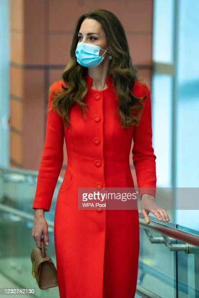 Catherine, Duchess of Cambridge during a visit to the Royal London Hospital Whitechapel on May 7, 2021 in London, England. During the visit, The...