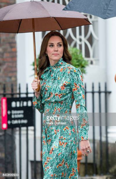 Catherine, Duchess of Cambridge during a visit to The Sunken Garden at Kensington Palace on August 30, 2017 in London, England. The garden has been...