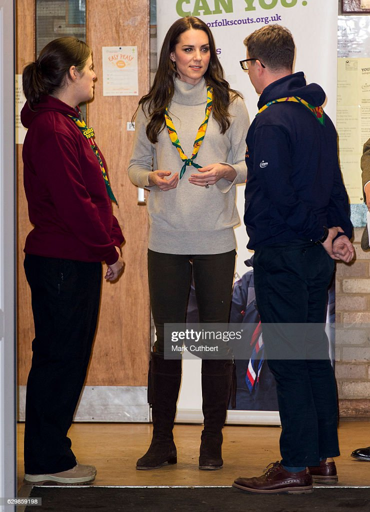 The Duchess Of Cambridge Attends A Cub Scout Pack Meeting To Celebrate 100 Years Of Cubs : News Photo