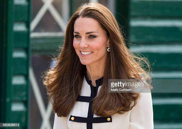 Catherine Duchess of Cambridge during an official visit to Bletchley Park on June 18 2014 in Bletchley England
