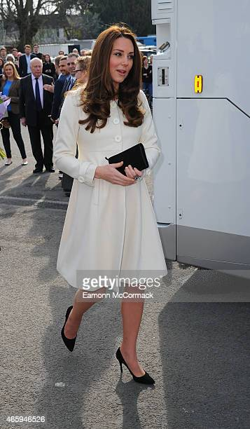 Catherine Duchess of Cambridge during an official visit to the set of Downton Abbey at Ealing Studios on March 12 2015 in London England