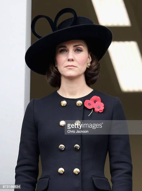 Catherine Duchess of Cambridge during the annual Remembrance Sunday memorial on November 12 2017 in London England The Prince of Wales senior...