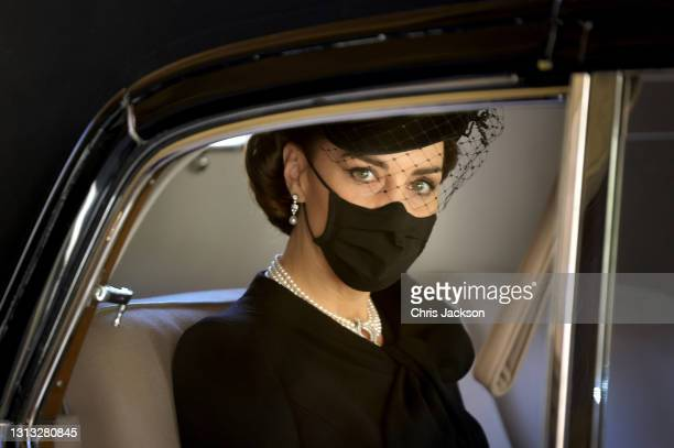 Catherine, Duchess of Cambridge during the funeral of Prince Philip, Duke of Edinburgh at Windsor Castle on April 17, 2021 in Windsor, England....
