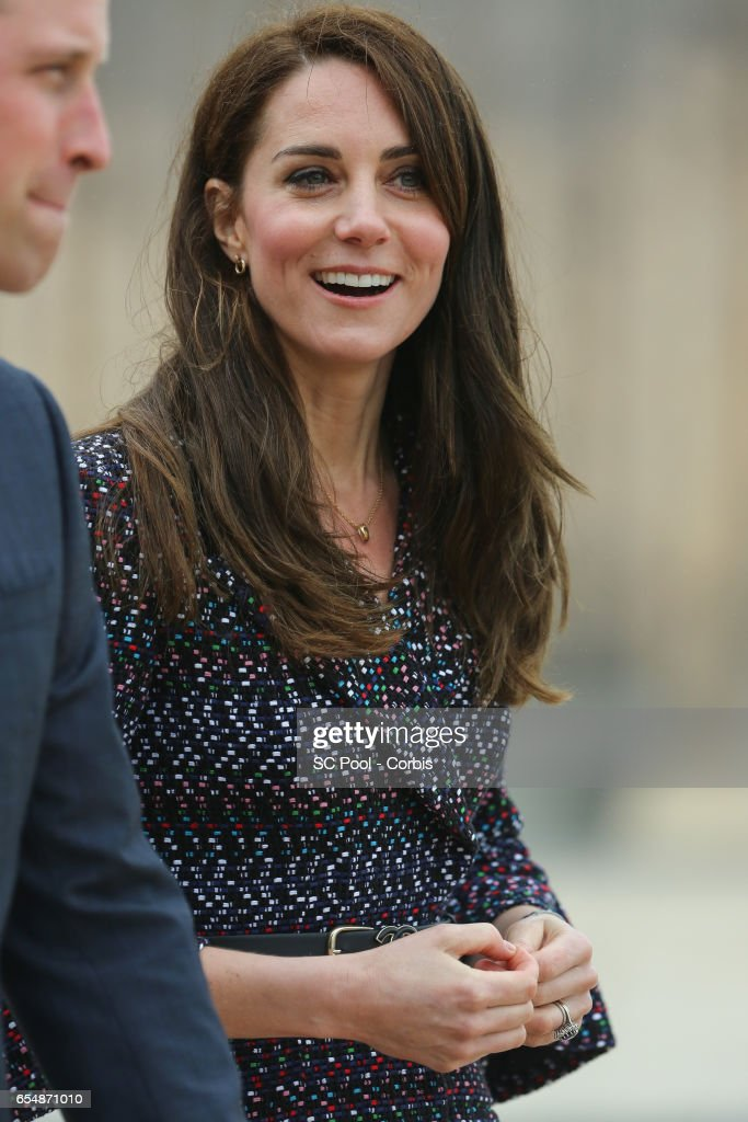 Catherine, Duchess of Cambridge during the 'Les Voisins in Action' event highlighting the strong ties between the young people of France and the UK at the Trocadero in front of the Eiffel tower during an official two-day visit to Paris on March 18, 2017 in Paris, France.