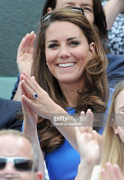 Catherine Duchess of Cambridge during the match between Andy Murray of Great Britain and Nicolas Almagro of Spain in the Quarterfinal of Men's...