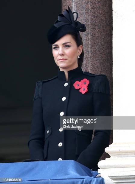 Catherine, Duchess of Cambridge during the National Service of Remembrance at The Cenotaph on November 08, 2020 in London, England. Remembrance...