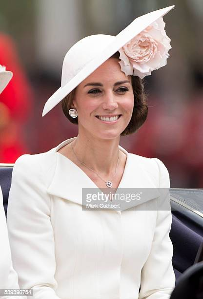 Catherine, Duchess of Cambridge during the Trooping the Colour, this year marking the Queen's 90th birthday at The Mall on June 11, 2016 in London,...