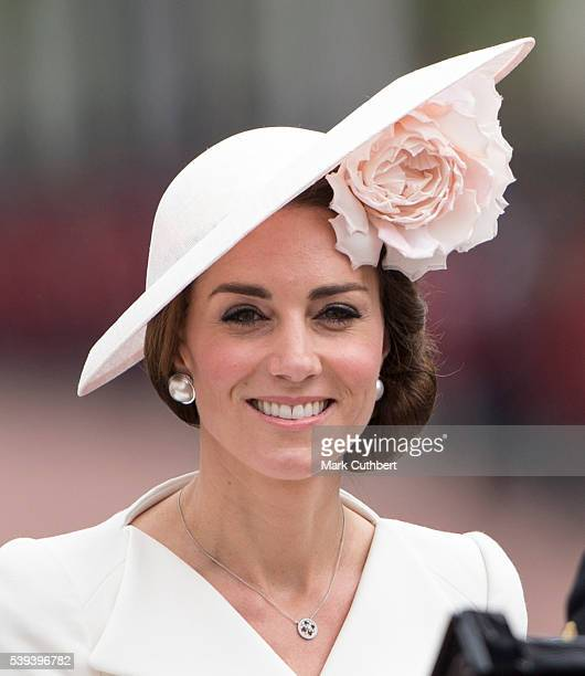 Catherine Duchess of Cambridge during the Trooping the Colour this year marking the Queen's 90th birthday at The Mall on June 11 2016 in London...
