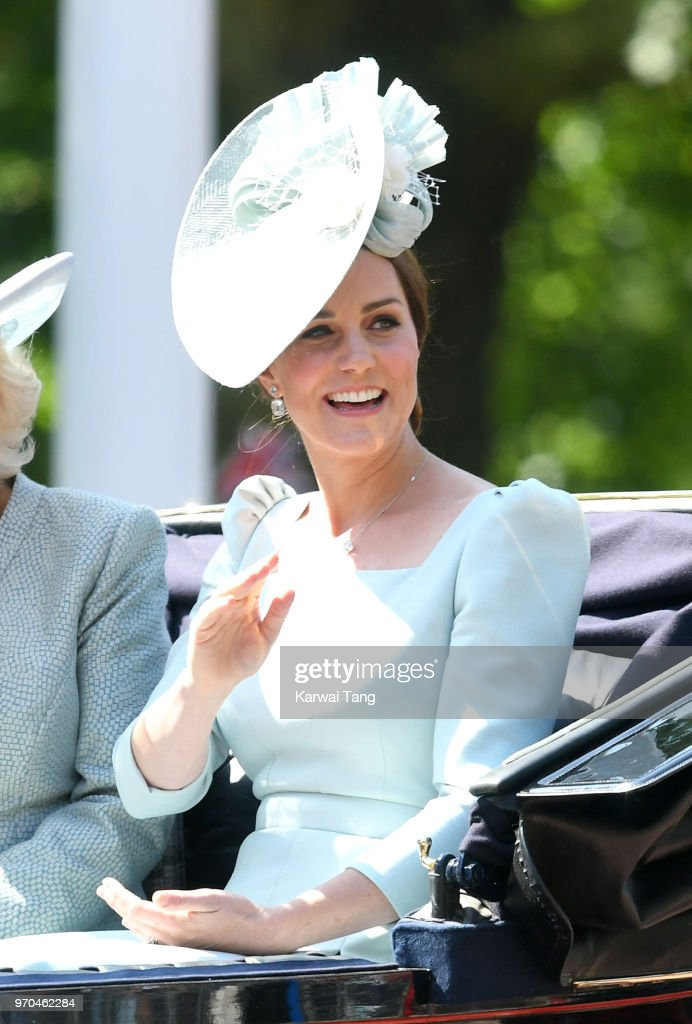 Catherine, Duchess of Cambridge during Trooping The Colour 2018 on The Mall on June 9, 2018 in London, England. The annual ceremony involving over 1400 guardsmen and cavalry, is believed to have first been performed during the reign of King Charles II. The parade marks the official birthday of the Sovereign, even though the Queen's actual birthday is on April 21st.