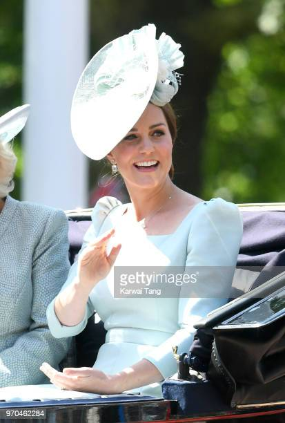 Catherine Duchess of Cambridge during Trooping The Colour 2018 on The Mall on June 9 2018 in London England The annual ceremony involving over 1400...