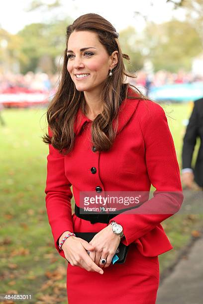 Catherine Duchess of Cambridge during visit to Latimer Square on April 14 2014 in Christchurch New Zealand The Duke and Duchess of Cambridge are on a...