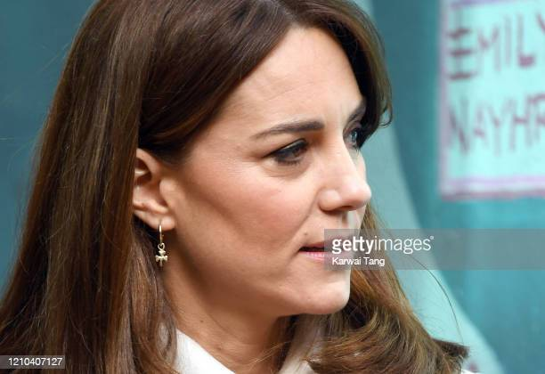 Catherine, Duchess of Cambridge, earring detail, accompanied by Prince William, Duke of Cambridge visits the mental health charity Jigsaw on day two...