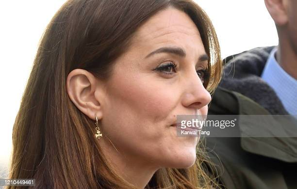 Catherine, Duchess of Cambridge, earring detail, accompanied by Prince William, Duke of Cambridge visits Teagasc Research Farm on day two of their...