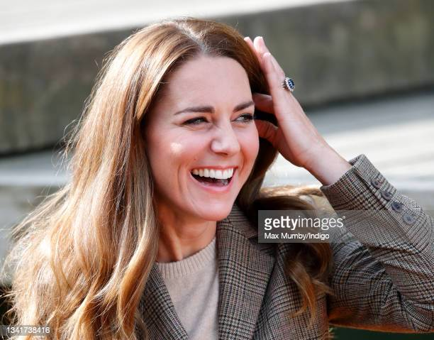 Catherine, Duchess of Cambridge embarks on a boat trip, on Lake Windermere, with two of the 'Windermere Children', a group of 300 child Holocaust...
