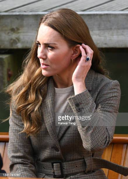 Catherine, Duchess of Cambridge embarks on a boat trip with two of the 'Windermere Children', a group of 300 child Holocaust survivors who came to...