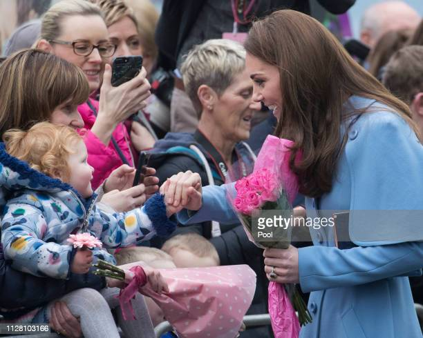 Catherine Duchess of Cambridge engages in a walkabout in Ballymena town centre on February 28 2019 in Ballymena Northern Ireland Prince William last...