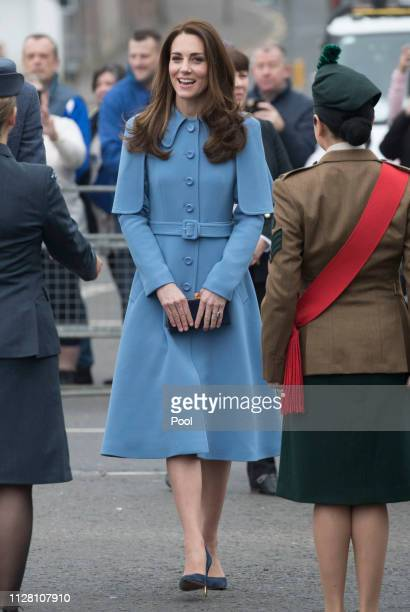 Catherine, Duchess of Cambridge engages in a walkabout in Ballymena town centre on February 28, 2019 in Ballymena, Northern Ireland. Prince William...