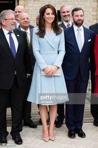 Catherine Duchess of Cambridge escorted by Prince Guillaume of Luxembourg during a one day visit to Luxembourg at Drai Eechelen Museum on May 11 2017...