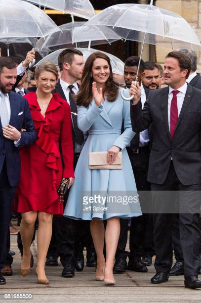Catherine Duchess of Cambridge escorted by Prince Guillaume of Luxembourg Princess Stephanie of Luxembourg and Xavier Bettel Prime Minister of...