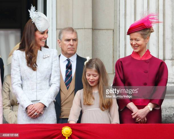 Catherine Duchess of Cambridge Estella Taylor and Lady Helen Taylor stand on the balcony of Buckingham Palace during Trooping the Colour Queen...