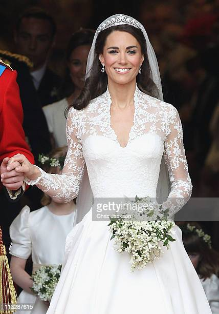 Catherine, Duchess of Cambridge exits following her marriage to HRH Prince William, Duke of Cambridge at Westminster Abbey on April 29, 2011 in...