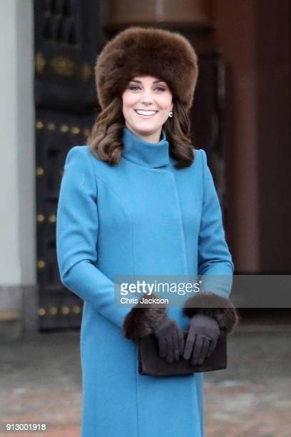 Catherine Duchess of Cambridge exits the Royal Palace on her way to visit the Princess Ingrid Alexandra Sculpture Park on day 3 of the Duke and...