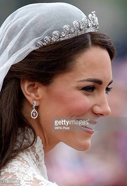 Catherine Duchess of Cambridge following her marriage to Prince William Duke of Canterbury at Westminster Abbey on April 29 2011 in London England...