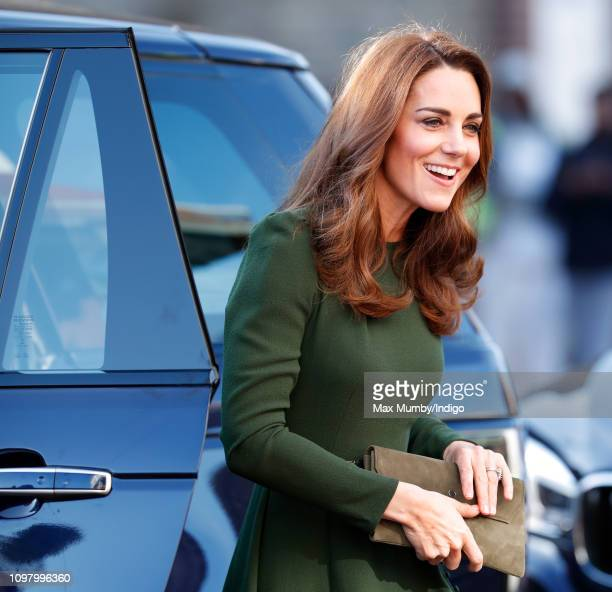Catherine Duchess of Cambridge gets out of her Range Rover car as she arrives for a visit to Family Action to launch a new national support line on...