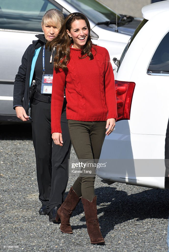 Catherine, Duchess of Cambridge gets ready to board the Highland Ranger for a fishing trip with the Skidegate Youth Centre on September 30, 2016 in Haida Gwaii, British Columbia, Canada.