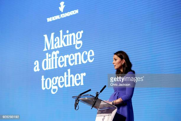 Catherine Duchess of Cambridge gives a speech as she attends the first annual Royal Foundation Forum held at Aviva on February 28 2018 in London...
