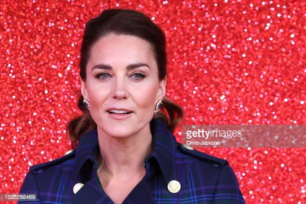 Catherine, Duchess of Cambridge gives a speech to NHS Charities Together and NHS staff at a unique drive-in cinema to watch a special screening of...