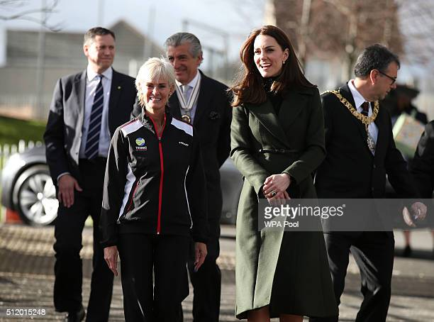 Catherine Duchess of Cambridge greets Andy Murray's mother Judy as she joins her at a tennis workshop at Craigmount High School in Edinburgh on...