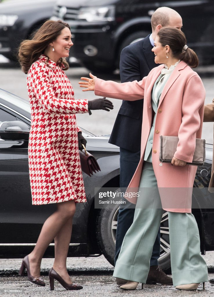 Catherine, Duchess of Cambridge greets Crown Princess Victoria of Sweden during a visit to the Karolinska Institute to meet with academics and practitioners to discuss Sweden's approach to managing mental health challenges during day two of their Royal visit to Sweden and Norway on January 31, 2018 in Stockholm, Sweden.