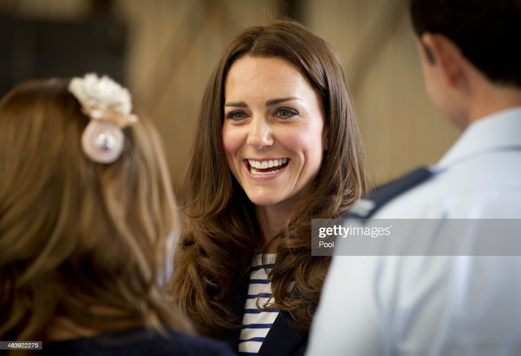 Catherine, Duchess of Cambridge greets families of the RNZAF after arriving at Whenuapai on April 11, 2014 in Auckland, New Zealand. The Duke and Duchess of Cambridge are on a three-week tour of Australia and New Zealand, the first official trip overseas with their son, Prince George of Cambridge.