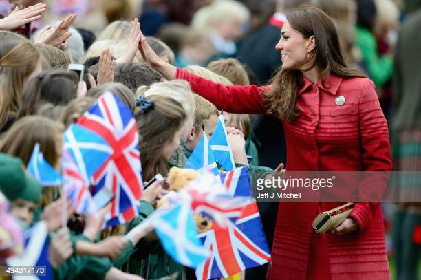 Catherine Duchess of Cambridge greets fans at MacRosty Park on May 29 2014 in Crieff Scotland The Duke and Duchess of Cambridge will spend today in...