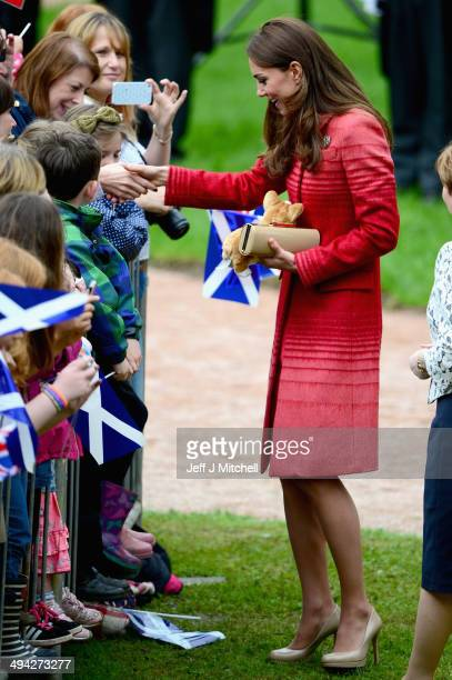 Catherine Duchess of Cambridge greets fans at MacRostyy Park on May 29 2014 in Crieff Scotland The Duke and Duchess of Cambridge will spend today in...