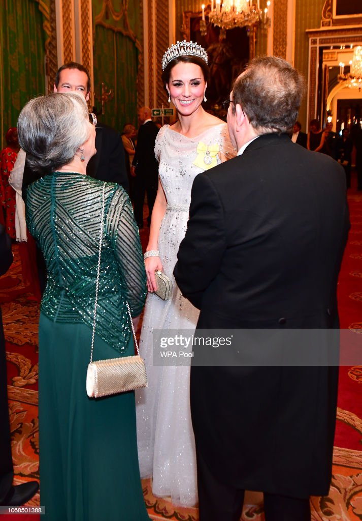 The Duke & Duchess Of Cambridge Attend Evening Reception For Members of the Diplomatic Corps : News Photo