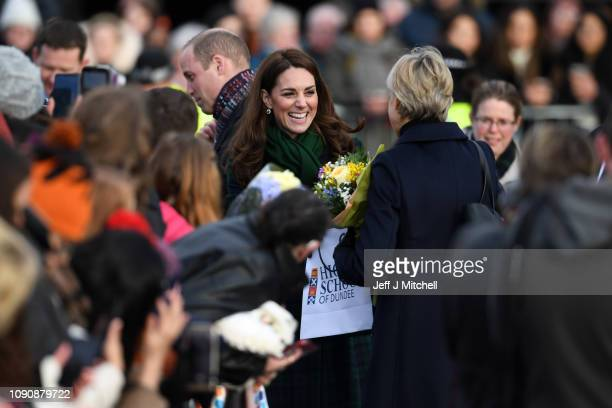 Catherine Duchess of Cambridge greets members of the public after the official opening of VA Dundee on January 29 2019 in Dundee Scotland
