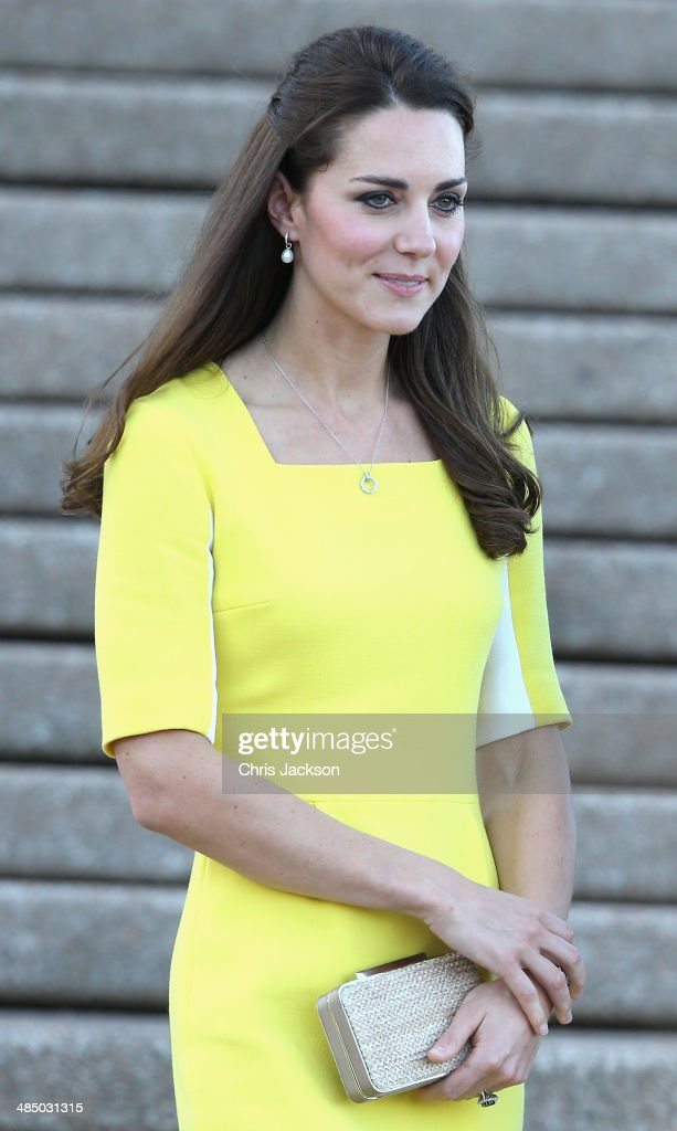 Catherine, Duchess of Cambridge greets the crowds of public outside Sydney Opera House on April 16, 2014 in Sydney, Australia. The Duke and Duchess of Cambridge are on a three-week tour of Australia and New Zealand, the first official trip overseas with their son, Prince George of Cambridge.