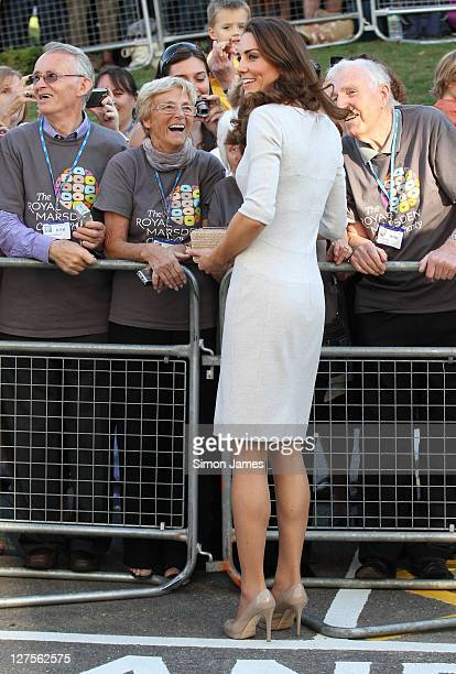 Catherine, Duchess of Cambridge greets the public prior to leaving the Royal Marsden Hospital on September 29, 2011 in London, England. Prince...