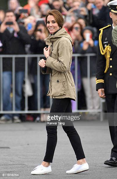Catherine Duchess of Cambridge greets wellwishers during a walkabout at Victoria's Inner Harbour on October 1 2016 in Victoria Canada