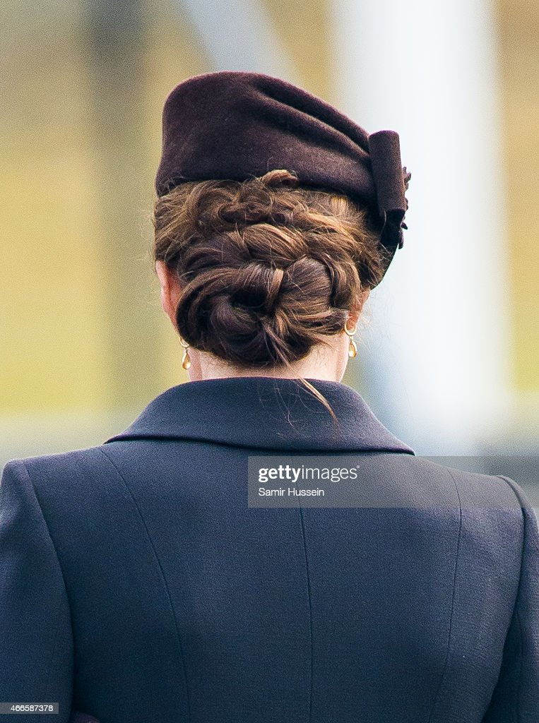 Catherine, Duchess of Cambridge, hair detail, as she attends the St Patrick's Day Parade at Mons Barracks on March 17, 2015 in Aldershot, England.