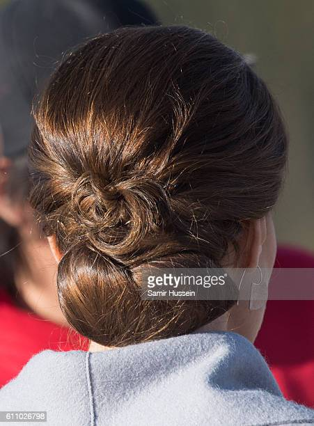 Catherine Duchess of Cambridge hair detail as she visits Montana mountain in Carcross on September 28 2016 in Whitehorse Canada