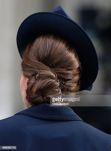 Catherine Duchess of Cambridge hair detail leaves St Paul's Cathedral after a Service of Commemoration for troops who were stationed in Afghanistan...