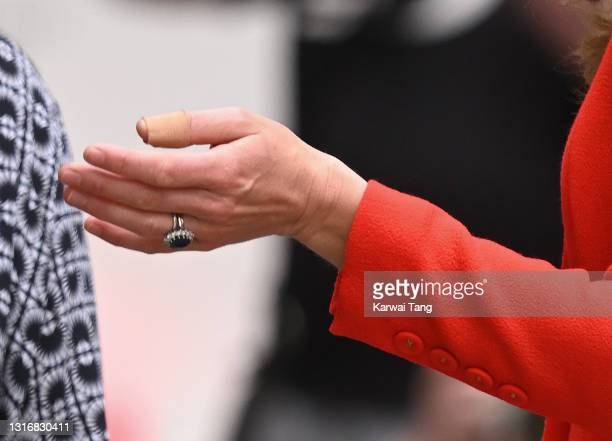 Catherine, Duchess of Cambridge, hand detail, visits the National Portrait Gallery Archive on May 07, 2021 in London, England.