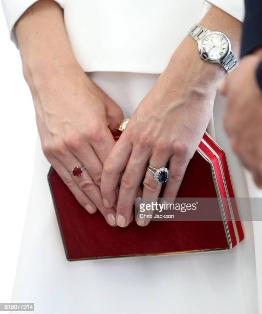 Catherine Duchess of Cambridge handbag detail arrives with Prince William Duke of Cambridge to meet young entrepreneurs during a reception at the...