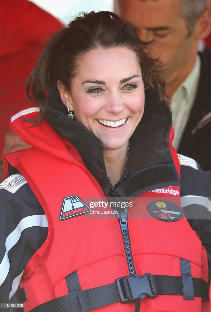 Catherine Duchess of Cambridge has her lifejacket fitted as she prepares to board the Shotover Jet on the Shotover River on April 13, 2014 in Queenstown, New Zealand. The Duke and Duchess of Cambridge are on a three-week tour of Australia and New Zealand, the first official trip overseas with their son, Prince George of Cambridge.