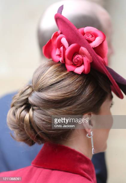 Catherine, Duchess of Cambridge, hat detail, attend the Commonwealth Day Service 2020 at Westminster Abbey on March 09, 2020 in London, England. The...