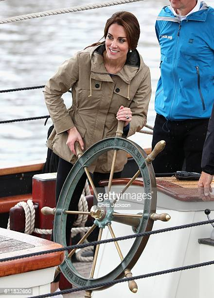 Catherine, Duchess of Cambridge helms the tall ship Pacific Grace in Victoria Harbour on the final day of their Royal Tour of Canada on October 1,...